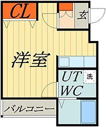 東武伊勢崎線 谷塚駅 徒歩9分の賃貸マンション 2階ワンルームの間取り