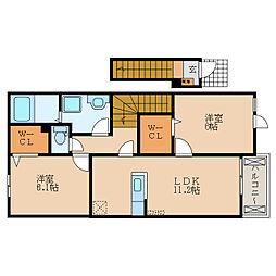 滋賀県近江八幡市浅小井町の賃貸アパートの間取り
