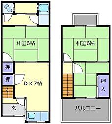 [テラスハウス] 大阪府羽曳野市島泉1丁目 の賃貸【/】の間取り