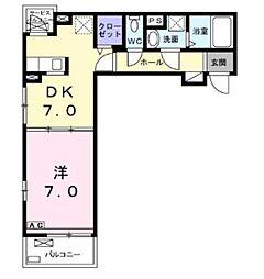 神奈川県厚木市愛甲1丁目の賃貸アパートの間取り