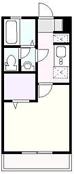 東急こどもの国線 こどもの国駅 徒歩12分の賃貸アパート 2階1Kの間取り