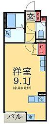 京成本線 ユーカリが丘駅 徒歩5分の賃貸アパート 1階ワンルームの間取り