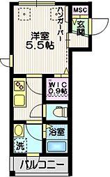 東急池上線 蓮沼駅 徒歩11分の賃貸マンション 2階1Kの間取り