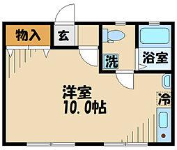 DOME-TAMA M棟M 2階ワンルームの間取り