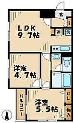 ベルトピア永山2[2階]の間取り