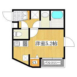王子本町YKマンションIII 4階ワンルームの間取り