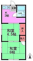 千葉県松戸市三矢小台1丁目の賃貸アパートの間取り