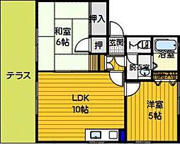 ファミール笹丘 B[101号室]の間取り