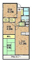 JR川越線 南古谷駅 徒歩4分の賃貸マンション 5階3LDKの間取り
