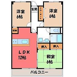 栃木県宇都宮市宿郷3丁目の賃貸アパートの間取り
