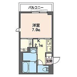 グランド スクエア 津田沼 3階1Kの間取り