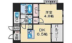 SOAR ESAKA EAST 8階1DKの間取り
