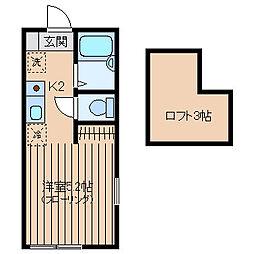 神奈川県横浜市西区南浅間町の賃貸アパートの間取り
