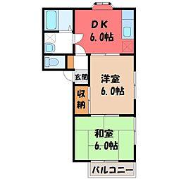 栃木県宇都宮市中戸祭町の賃貸アパートの間取り