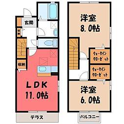 真岡鐵道 北真岡駅 徒歩5分の賃貸テラスハウス 2階2LDKの間取り