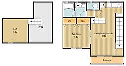 JR中央線 西八王子駅 徒歩4分の賃貸アパート 2階1LDKの間取り