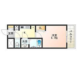 JR大阪環状線 野田駅 徒歩7分の賃貸マンション 6階1Kの間取り