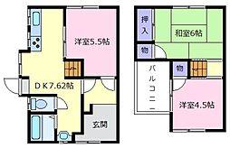 [一戸建] 大阪府松原市天美東5丁目 の賃貸【/】の間取り