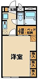 JR八高線 金子駅 徒歩12分の賃貸アパート 2階1Kの間取り