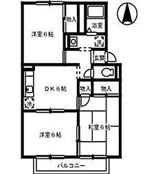 オークス金子 A[2階]の間取り