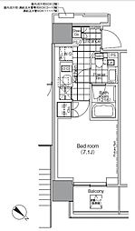 パークハビオ赤坂タワー 15階1Kの間取り