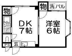 フリーディオ中木田[2階]の間取り