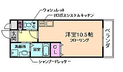 ロイヤルガーデンII 2階1DKの間取り