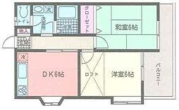 神奈川県横浜市都筑区中川4丁目の賃貸アパートの間取り