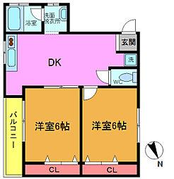 千葉県松戸市二十世紀が丘萩町の賃貸マンションの間取り