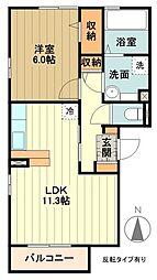 多摩都市モノレール 泉体育館駅 徒歩13分の賃貸アパート 2階1LDKの間取り