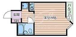 阪急千里線 千里山駅 徒歩10分の賃貸マンション 1階ワンルームの間取り