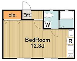 ドーム多摩N 2階ワンルームの間取り