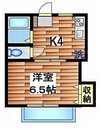 ポニート東小金井 1階1Kの間取り