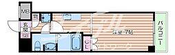 阪急千里線 関大前駅 徒歩5分の賃貸マンション 2階1Kの間取り