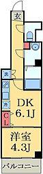 JR総武線 幕張本郷駅 徒歩2分の賃貸マンション 2階1DKの間取り