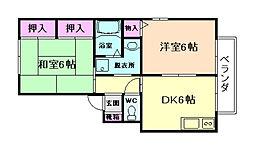 大阪府豊中市本町6丁目の賃貸アパートの間取り