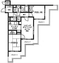 横浜市営地下鉄ブルーライン 上永谷駅 徒歩16分の賃貸マンション 4階2LDKの間取り