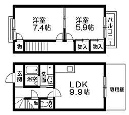[テラスハウス] 滋賀県栗東市林 の賃貸【滋賀県 / 栗東市】の間取り