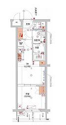 東急東横線 武蔵小杉駅 徒歩10分の賃貸マンション 1階1DKの間取り