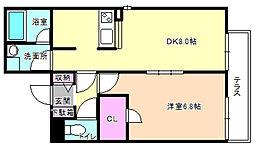 大阪府枚方市伊加賀栄町の賃貸アパートの間取り