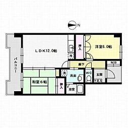 スカイコート四王寺[2階]の間取り