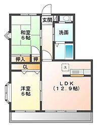 愛知県岡崎市土井町字城屋敷の賃貸アパートの間取り