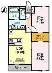 埼玉県さいたま市見沼区大字小深作の賃貸アパートの間取り