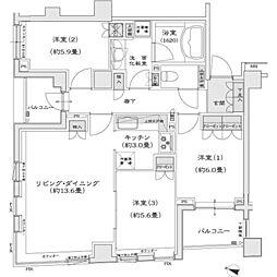 東京都目黒区中目黒3丁目の賃貸マンションの間取り