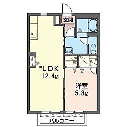 サニーコートC 2階1LDKの間取り