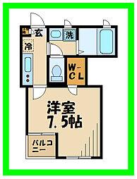 小田急小田原線 経堂駅 徒歩3分の賃貸アパート 2階1Kの間取り