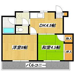 レジデンス中央II[2階]の間取り