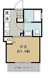 西武新宿線 東村山駅 徒歩5分の賃貸アパート 1階1Kの間取り