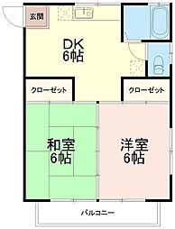 コーポ林エー(コーポ林A)[2階]の間取り