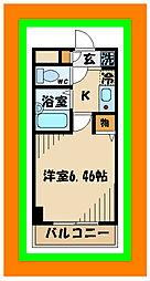 西武多摩川線 是政駅 徒歩1分の賃貸マンション 3階1Kの間取り